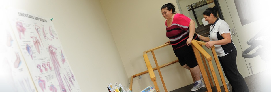 Women doing physiotherapy with therapist